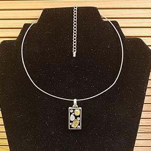 Lia Sophia choker w rectangoe stone necklace GUC
